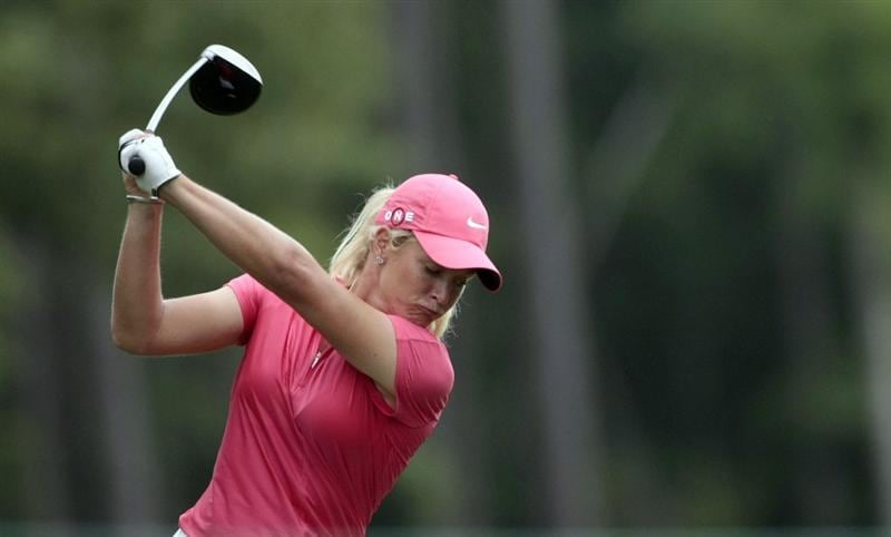 MOBILE, AL - MAY 15:  Suzann Pettersen of Norway hits her drive on the 16th hole during third round play in the Bell Micro LPGA Classic at the Magnolia Grove Golf Course on May 15, 2010 in Mobile, Alabama.  (Photo by Dave Martin/Getty Images)