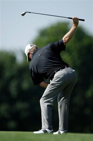 CARMEL, IN - JULY 31:  Fred Funk of the USA practices his swing while waiting to hit his second shot on the 18th hole during the second round of the 2009 U.S. Senior Open on July 31, 2009 at Crooked Stick Golf Club in Carmel, Indiana.  (Photo by Jamie Squire/Getty Images)