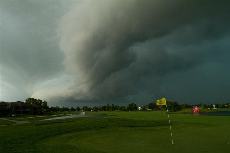 SPRINGFIELD, IL - JUNE 13: Storm clouds gather over the ninth hole  during the fourth round of the LPGA State Farm Classic at Panther Creek Country Club on June 13, 2010 in Springfield, Illinois. The fourth round has been suspended indefinitely.  (Photo by Darren Carroll/Getty Images)