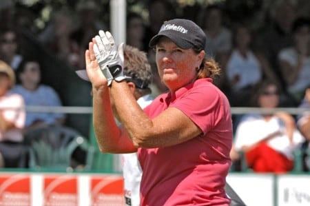 Defending champion Meg Mallon applauds the crowd on the 18th hole  during the final round of the Jamie Farr Owens Corning Classic July 10, 2005. Bowie won the tournament in a three-hole playoff.Photo by Al Messerschmidt/WireImage.com