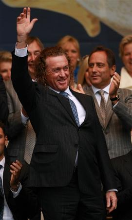 NEWPORT, WALES - SEPTEMBER 30:  Miguel Angel Jimenez of Europe acknowledges the crowd during the Opening Ceremony prior to the 2010 Ryder Cup at the Celtic Manor Resort on September 30, 2010 in Newport, Wales.  (Photo by Andrew Redington/Getty Images)