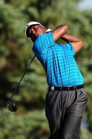 CHASKA, MN - AUGUST 14:  Vijay Singh of Fiji hits his tee shot on the 12th hole during the second round of the 91st PGA Championship at Hazeltine National Golf Club on August 14, 2009 in Chaska, Minnesota.  (Photo by Stuart Franklin/Getty Images)