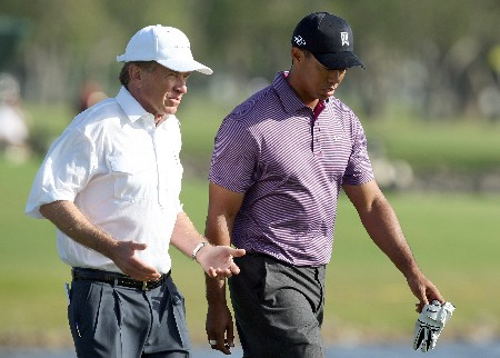 MIAMI - MARCH 19:  Tiger Woods of the USA walks with PGA Tour Commissioner Tim Finchem of the USA at the 18th hole during practice for the 2008 World Golf Championships CA Championship at the Doral Golf Resort & Spa, on March 19, 2008 in Miami, Florida.  (Photo by David Cannon/Getty Images)