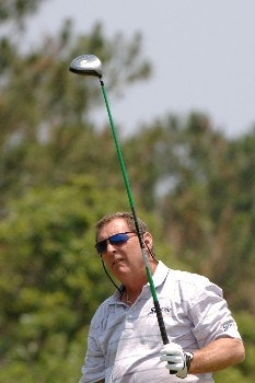 Fuzzy Zoeller  drives from the seventh tee  during the opening round of the 2005 Blue Angels Class  May 13 in Milton, Fl.Photo by Al Messerschmidt/WireImage.com