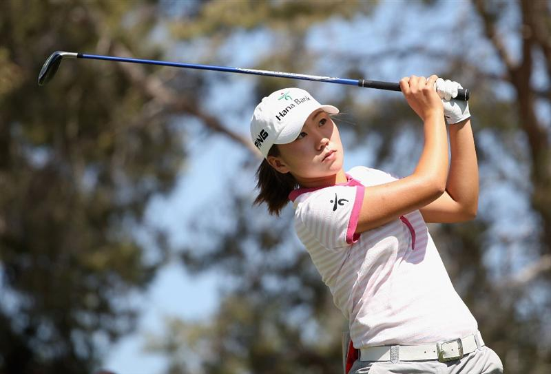 PHOENIX - MARCH 28:  In-Kyung Kim of South Korea tees off on the third hole during the third round of the J Golf Phoenix LPGA International golf tournament at Papago Golf Course on March 28, 2009 in Phoenix, Arizona.  (Photo by Christian Petersen/Getty Images)