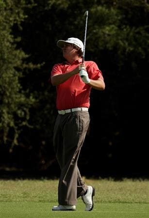 MELBOURNE, AUSTRALIA - NOVEMBER 13:  Jason Dufner of Australia plays an approach shot on the 16th hole during round two of the 2009 Australian Masters at Kingston Heath Golf Club on November 13, 2009 in Melbourne, Australia.  (Photo by Mark Dadswell/Getty Images)