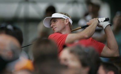 Vaughn Taylor watches his drive during the fourth and final round of the Buick Open at Warwick Hills Golf and Country Club in Grand Blanc, Michigan on August 6, 2006.Photo by Michael Cohen/WireImage.com