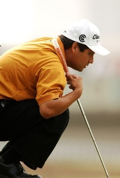 Omar Uresti lines up a putt on the sixth green during the second round of the EDS Byron Nelson Classic at TPC Los Colinas in Los Colinas, Texas May 13, 2005Photo by Steve Grayson/WireImage.com