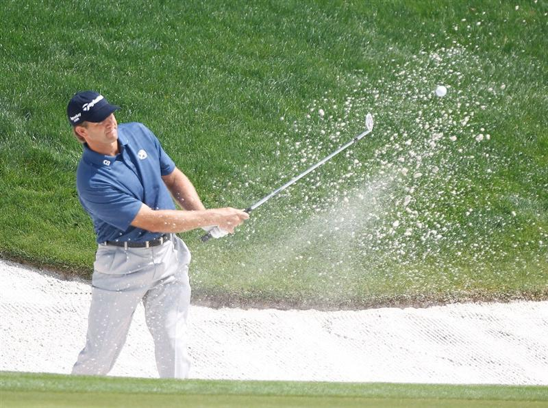 ORLANDO, FL - MARCH 29:  Retief Goosen of South Africa plays a bunker shot on the 18th hole during the completion of the final round of the Arnold Palmer Invitational presented by MasterCard at the Bayhill Club and Lodge on March 29, 2010 in Orlando, Florida.  (Photo by Scott Halleran/Getty Images)