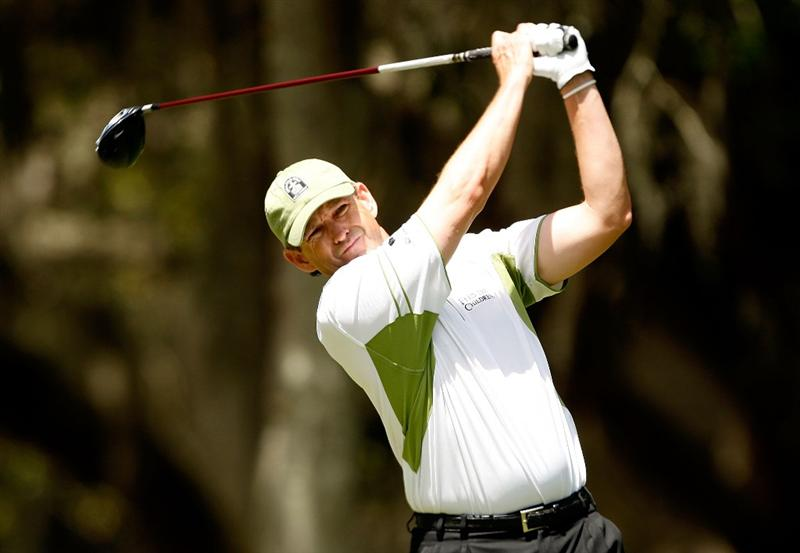 HILTON HEAD ISLAND, SC - APRIL 18:  Lee Janzen watches his tee shot on the 2nd hole during the third round of the Verizon Heritage at Harbour Town Golf Links on April 18, 2009 in Hilton Head Island, South Carolina.  (Photo by Streeter Lecka/Getty Images)