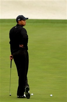 AUGUSTA, GA - APRIL 08:  Tiger Woods walks to putt during the second day of practice prior to the start of the 2008 Masters Tournament at Augusta National Golf Club on April 8, 2008 in Augusta, Georgia.  (Photo by Harry How/Getty Images)