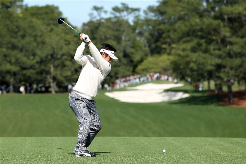 AUGUSTA, GA - APRIL 05:  Hiroyuki Fujita of Japan plays a shot during a practice round prior to the 2011 Masters Tournament at Augusta National Golf Club on April 5, 2011 in Augusta, Georgia.  (Photo by Andrew Redington/Getty Images)