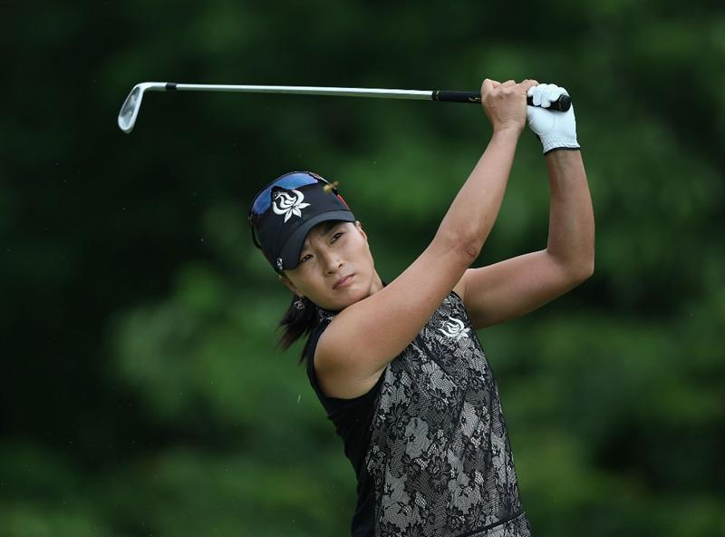 SPRINGFIELD, IL - JUNE 07:  Se Ri Pak of South Korea  hits a tee shot on the second hole during the fourth round of the LPGA State Farm Classic golf tournament at Panther Creek Country Club on June 7, 2009 in Springfield, Illinois.  (Photo by Christian Petersen/Getty Images)