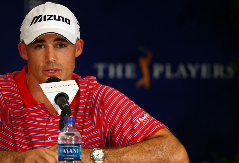 PONTE VEDRA BEACH, FL - MAY 07:  Jonathan Byrd is interviewed during a press conference after completing his first round of THE PLAYERS Championship on THE PLAYERS Stadium Course at TPC Sawgrass on May 7, 2009 in Ponte Vedra Beach, Florida.  (Photo by Richard Heathcote/Getty Images)