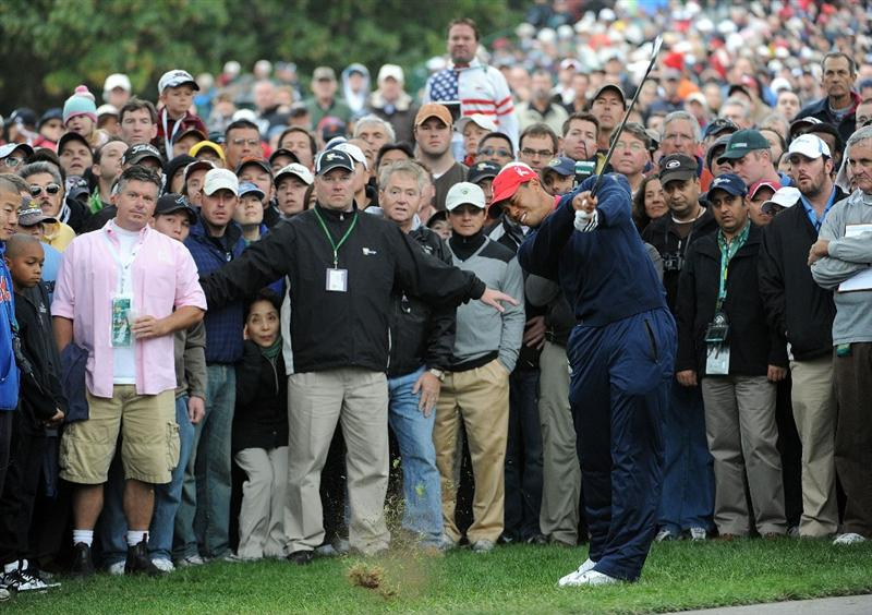 SAN FRANCISCO - OCTOBER 11:  Tiger Woods of the USA Teamhits from the rough on the third hole during the Day Four Singles Matches of The Presidents Cup at Harding Park Golf Course on October 11, 2009 in San Francisco, California.  (Photo by Harry How/Getty Images)