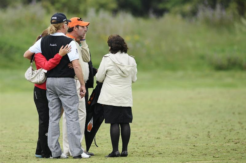 BARCELONA, SPAIN - MAY 07: Spanish golf players Jose Maria Olazabal of Spain (C) and Miguel Angel Jimenez (L) cry after observing a minute of silence in memory of Severiano Ballesteros during the third round of the Open de Espana at the the Real Club de Golf El Prat on May 7 , 2011 in Barcelona, Spain.  (Photo by David Ramos/Getty Images)