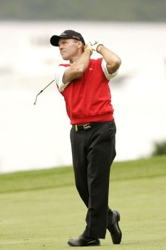 Thomas Levet follows his shot during the first round of the 2005 Barclays Scottish Open at the Loch Lomond Golf Club. July 7, 2005Photo by Pete Fontaine/WireImage.com