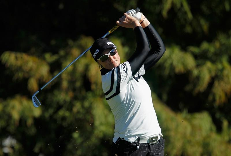ORLANDO, FL - DECEMBER 04:  Maria Hjorth of Sweden hits her tee shot on fourth hole during the third round of the LPGA Tour Championship at the Grand Cypress Resort on December 4, 2010 in Orlando, Florida.  (Photo by Scott Halleran/Getty Images)