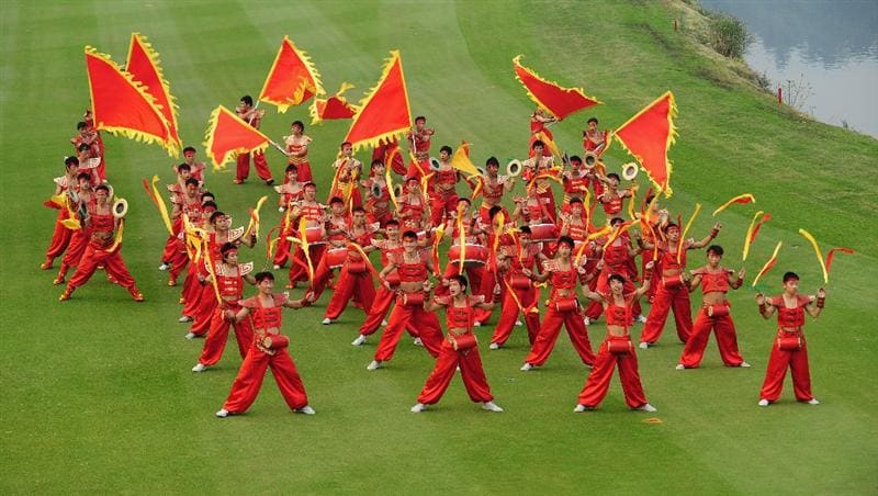 SHENZHEN, GUANGDONG - NOVEMBER 25:  Chinese drummers and dancer perform during the opening ceremony at the Omega Mission Hills World Cup on the Olazabal course on November 25, 2009 in Shenzhen, China.  (Photo by Stuart Franklin/Getty Images)