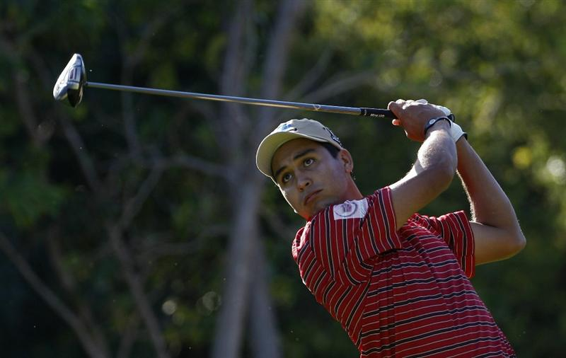 PLAYA DEL CARMEN, MEXICO - FEBRUARY 24:  Efren Serna jr of Mexico hits a drive during the first round of the Mayakoba Golf Classic at Riviera Maya-Cancun held at El Camaleon Golf Club on February 24, 2011 in Playa del Carmen, Mexico.  (Photo by Michael Cohen/Getty Images)