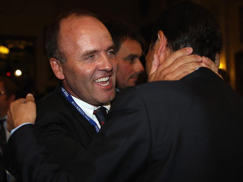 VIRGINIA WATER, ENGLAND - MAY 17:  Past Ryder Cup players Thomas Levet and Jean Van de Velde celebrate after France won the bid to host the 2018 Ryder Cup, at Wentworth on May 17, 2011 in Virginia Water, England.  (Photo by Bryn Lennon/Getty Images)