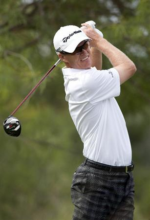 LAS VEGAS, NV - OCTOBER 23: John Senden of Australia tees off on the 2nd hole during the third round of the Justin Timberlake Shriners Hospitals for Children Open on October 23, 2010 in Las Vegas, Nevada. (Photo by Steve Dykes/Getty Images)