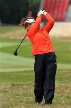 SUNNINGDALE, UNITED KINGDOM - AUGUST 02:  Yuri Fudoh of Japan plays her second shot at the 1st hole during the third round of the 2008  Ricoh Women's British Open Championship held on the Old Course at Sunningdale Golf Club, on August 2, 2008 in Sunningdale, England.  (Photo by David Cannon/Getty Images)