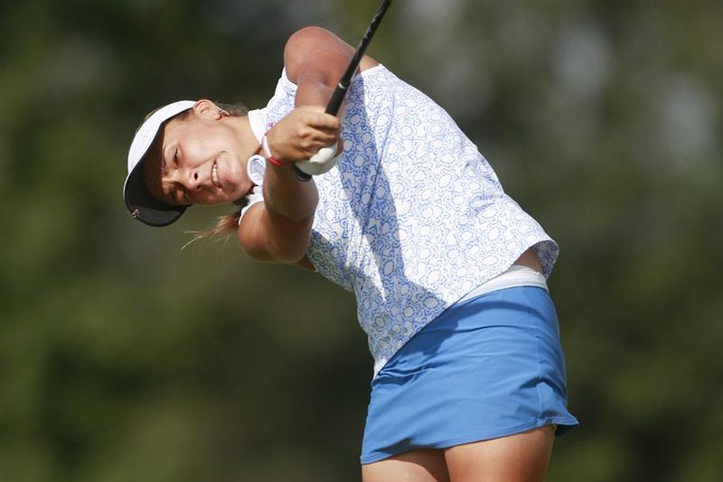 PRATTVILLE, AL - OCTOBER 2:  Amateur golfer Alexis Thompson, 14, hits her drive on the 11th tee during second round play in the Navistar LPGA Classic at the Robert Trent Jones Golf Trail at Capitol Hill on October 2, 2009 in  Prattville, Alabama.  (Photo by Dave Martin/Getty Images)