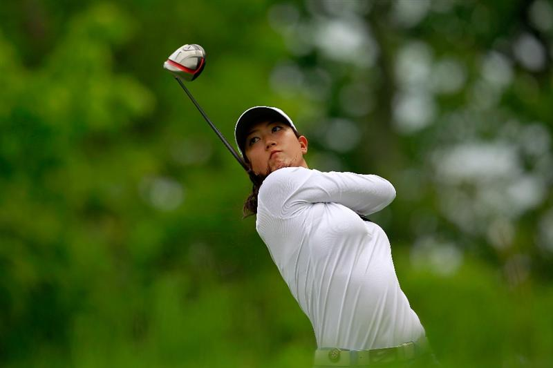 GLADSTONE, NJ - MAY 19:  Michelle Wie hits her tee shot on the second hole during round one of the Sybase Match Play Championship at Hamilton Farm Golf Club on May 19, 2011 in Gladstone, New Jersey.  (Photo by Chris Trotman/Getty Images)