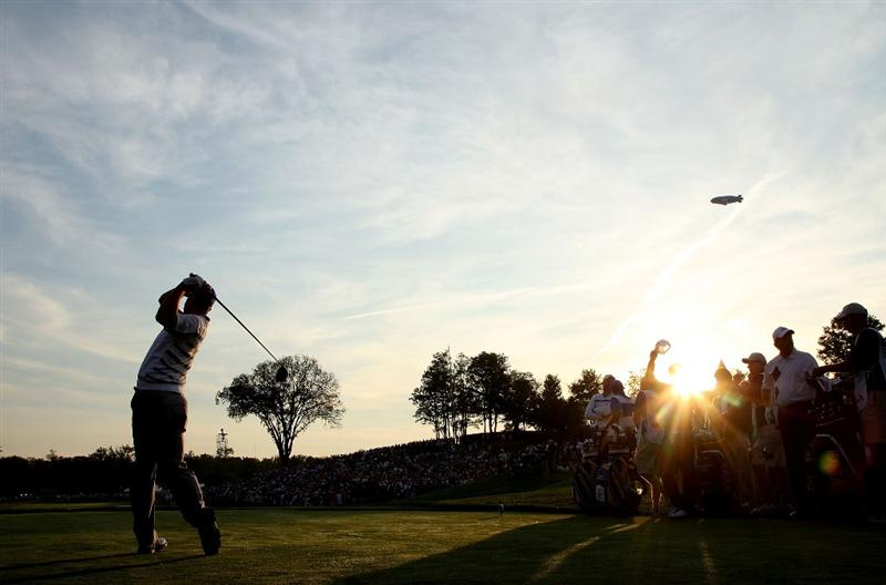 LOUISVILLE, KY - SEPTEMBER 19:  Padraig Harrington of the European team takes a practice swing on the first tee during the morning foursomes on day one of the 2008 Ryder Cup at Valhalla Golf Club on September 19, 2008 in Louisville, Kentucky.  (Photo by David Cannon/Getty Images)