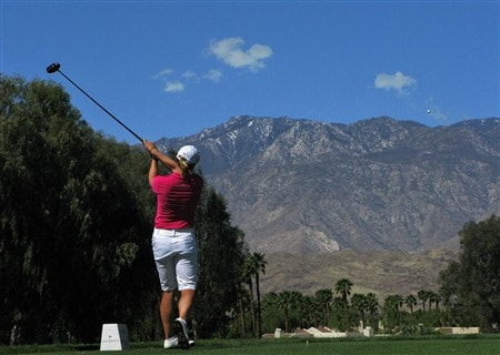 RANCHO MIRAGE, CA - APRIL 3:  Annika Sorenstam of Sweden hits her tee shot on the 16th hole during the first round of the Kraft Nabisco Championship at Mission Hills Country Club April 3, 2008 in Rancho Mirage, California.  (Photo by Stephen Dunn/Getty Images)