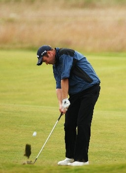 CARNOUSTIE, UNITED KINGDOM - JULY 18:  Alastair Forsyth of Scotland hits a shot during a practice round during previews to The 136th Open Championship at the Carnoustie Golf Club on July 18, 2007 in Carnoustie, Scotland.  (Photo by Ross Kinnaird/Getty Images)