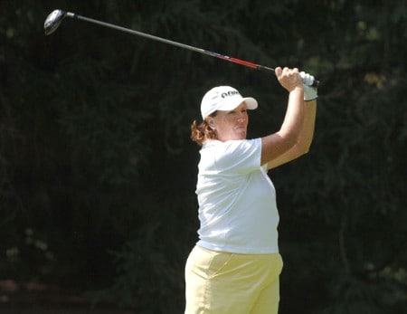 Meg Mallon drives from the 13th tee during the third round of the 2005 Jamie Farr Owens Corning Classic at the Highland Meadows Golf Club in Sylvania, Ohio on July 9, 2005.Photo by Al Messerschmidt/WireImage.com