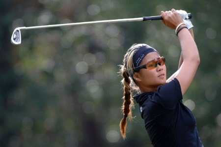 Jennifer Rosales tees off on the 17th hole during the third round of the 2005 Mitchell Company Tournament of Champions at The Crossings at Magnolia Grove in Mobile, Alabama on November 12, 2005.Photo by Al Messerschmidt/WireImage.com