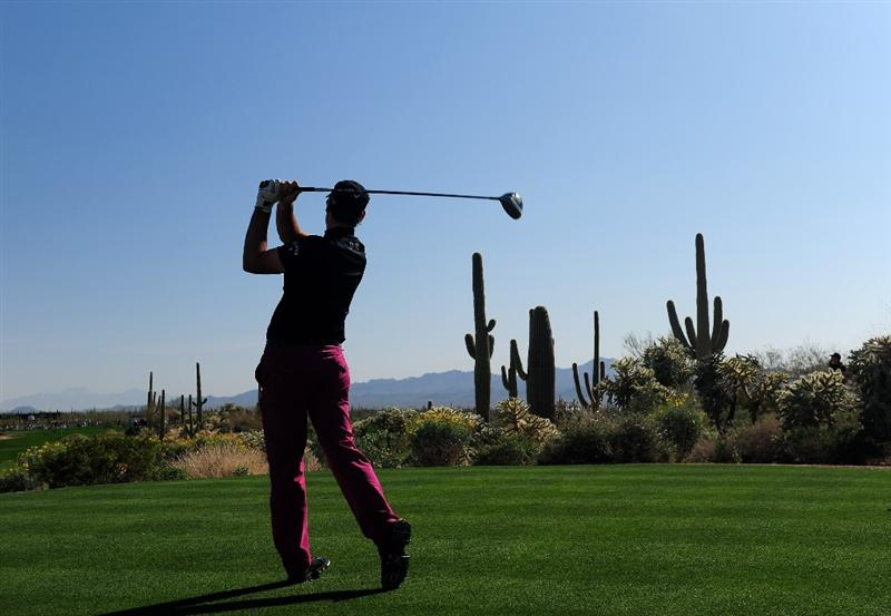 MARANA, AZ - FEBRUARY 19:  Oliver Wilson of England plays his tee shot on the 17th hole during round three of the Accenture Match Play Championship at the Ritz-Carlton Golf Club on February 19, 2010 in Marana, Arizona.  (Photo by Stuart Franklin/Getty Images)