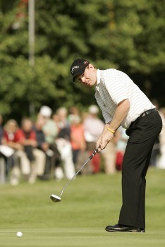 Stephen Gallacher putts on the eighteenth green during the final round of the 2005 Deutsche Bank Players' Championship at Gut Kaden Golf Club. July 24, 2005Photo by Pete Fontaine/WireImage.com