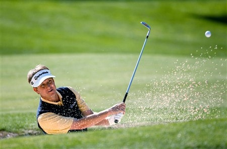 CHARLOTTE, NC - MAY 01:  David Toms hits out of the sand on the 15th hole during the first round of the Wachovia Championship at Quail Hollow Country Club on May 1, 2008 in Charlotte, North Carolina.  (Photo by Streeter Lecka/Getty Images)