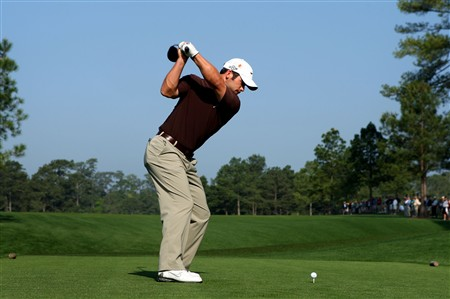 AUGUSTA, GA - APRIL 09:  Paul Casey of England hits a tee-shot during the third day of practice prior to the start of the 2008 Masters Tournament at Augusta National Golf Club on April 9, 2008 in Augusta, Georgia.  (Photo by Andrew Redington/Getty Images)