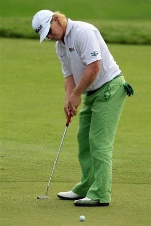 NORTON, MA - SEPTEMBER 03:  Charley Hoffman putts on the ninth hole during the first round of the Deutsche Bank Championship at TPC Boston on September 3, 2010 in Norton, Massachusetts.  (Photo by Michael Cohen/Getty Images)
