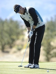 Jesper Parnevik follows his putt during the fourth round of the Bob Hope Chrysler Classic at The Classic Club, Jan. 21, 2006 in Palm Desert, California.Photo by Marc Feldman/WireImage.com