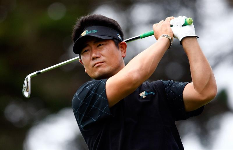 SAN FRANCISCO - OCTOBER 08:  Y.E. Yang of the International Team watches his tee shot on the second hole during the Day One Foursome Matches of The Presidents Cup at Harding Park Golf Course on October 8, 2009 in San Francisco, California.  (Photo by Scott Halleran/Getty Images)