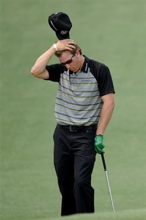 AUGUSTA, GA - APRIL 09:  Ricky Barnes reacts to a shot on the second hole during the third round of the 2011 Masters Tournament at Augusta National Golf Club on April 9, 2011 in Augusta, Georgia.  (Photo by Harry How/Getty Images)
