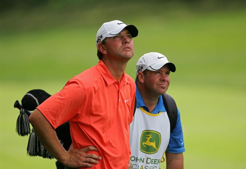 SILVIS, IL - JULY 09:  Lucas Glover of the USA prepares to hit a shot during the first round of the John Deere Classic at TPC Deere Run held on July 9, 2009 in Silvis, Illinois.  (Photo by Michael Cohen/Getty Images)