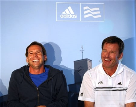 SOUTHPORT, UNITED KINGDOM - JULY 14: Sergio Garcia of Spain and Nick Faldo of England pictured at a press conference prior to the 137th Open Championship on July 14, 2008 at Royal Birkdale Golf Course, England.  (Photo by Ross Kinnaird/Getty Images)