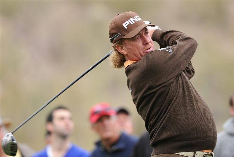 MARANA, AZ - FEBRUARY 26:  Miguel Angel Jimenez of Spain hits his tee shot on the 15th hole during the quarterfinal round of the Accenture Match Play Championship at the Ritz-Carlton Golf Club on February 26, 2011 in Marana, Arizona.  (Photo by Stuart Franklin/Getty Images)