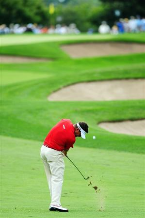 CHASKA, MN - AUGUST 13:  Lee Westwood of England plays a shot on the fifth hole during the first round of the 91st PGA Championship at Hazeltine National Golf Club on August 13, 2009 in Chaska, Minnesota.  (Photo by Stuart Franklin/Getty Images)