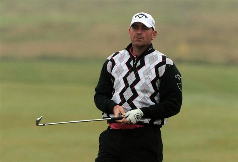 CARNOUSTIE, SCOTLAND - OCTOBER 08:  Thomas Bjorn of Denmark playing his second shot at the 6th hole during the second round of The Alfred Dunhill Links Championship at Carnoustie Golf Links on October 8, 2010 in Carnoustie, Scotland.  (Photo by David Cannon/Getty Images)
