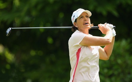 EVIAN, FRANCE - JULY 25:  Juli Inkster of USA tees off on the third hole during the second round of the Evian Masters at the Evian Masters Golf Club on July 25, 2008 in Evian, France.  (Photo by Andrew Redington/Getty Images)
