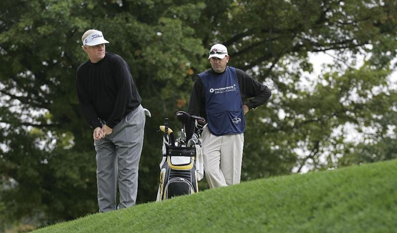 TIMONIUM, MD - OCTOBER 02:  Mark Wiebe prepares to play a shot during the second round of the Constellation Energy Senior Players Championship at Baltimore Country Club/Five Farms (East Course) held on October 2, 2009 in Timonium, Maryland  (Photo by Michael Cohen/Getty Images)