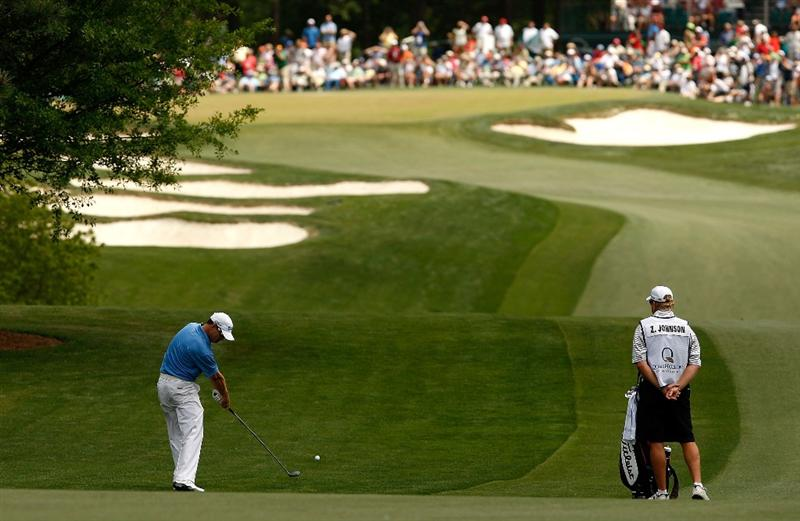 CHARLOTTE, NC - MAY 04:  Zach Johnson hits his second shot on the 5th hole during the final round of the Quail Hollow Championship at the Quail Hollow Club on May 4, 2009 in Charlotte, North Carolina.  (Photo by Streeter Lecka/Getty Images)